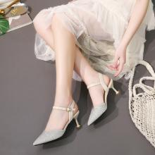 新款尖頭一字帶涼鞋女夏季包頭中空涼鞋女DX98202