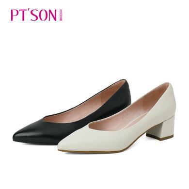百田森 新款中跟单鞋女黑色米白真皮正装职业鞋女鞋工作鞋PYQ19572