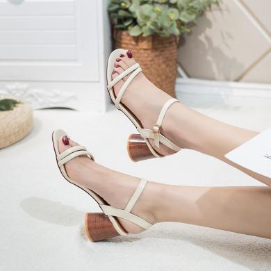 新款夏季高跟粗跟涼鞋女一字帶溫柔風女鞋氣質高跟鞋DX98026