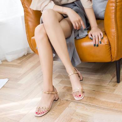 新款夏季高跟粗跟透明涼鞋女一字帶溫柔風女鞋氣質高跟鞋DX98076