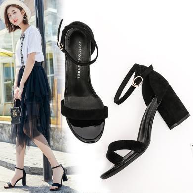 夏季涼鞋一字帶女粗跟涼鞋高跟涼鞋女AFS-H8616