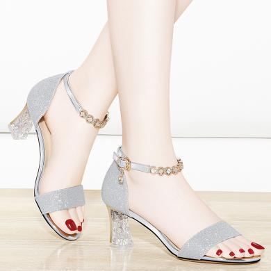金絲兔新款夏季高跟涼鞋女粗跟水晶跟方頭魚嘴女鞋時尚網紅女鞋