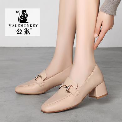 公猴小皮鞋女2019秋季新款單鞋方頭粗跟樂福鞋中跟百搭英倫風穆勒