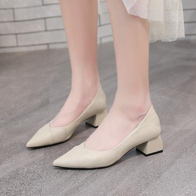新款尖头套脚单鞋女一脚蹬浅口单鞋女粗跟女鞋DX96113