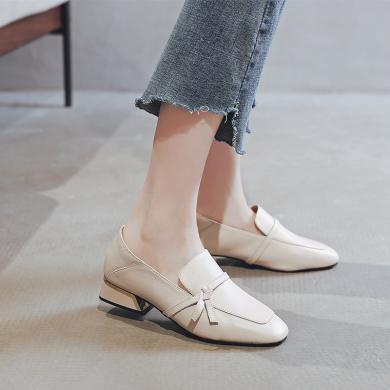 搭歌英倫風單鞋女2019早秋新品方跟時裝鞋小皮鞋頭層牛皮樂福鞋YDG1881中國結