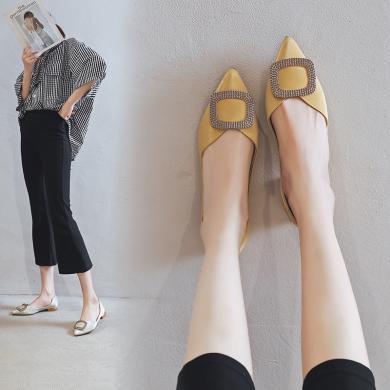 阿么2019秋季新款尖頭淺口平底一腳蹬單鞋女時尚百搭舒適軟底女鞋