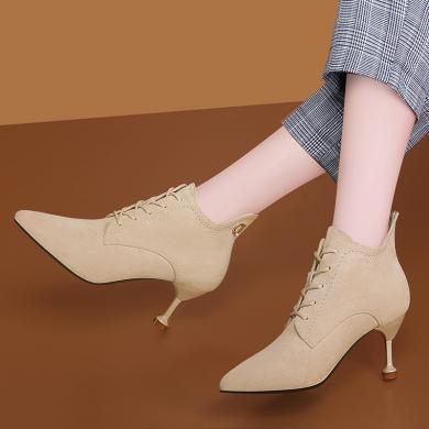 古奇天倫 秋季新款 尖頭細跟單鞋 系帶純色鞋子女 TL9659