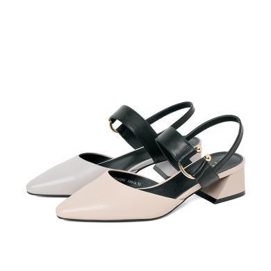 百田森PYQ19228新款舒適中后空鞋時尚金屬扣裝飾女單鞋