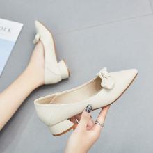 新款蝴蝶結尖頭套腳單鞋女一腳蹬淺口單鞋女粗跟女鞋DX-D96128