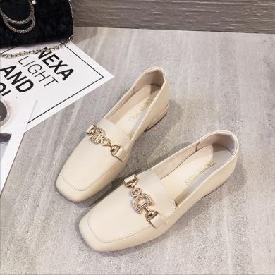 MIJI2019新款平底粗跟方頭百搭小皮鞋低跟瑪麗蘇休閑單鞋XLJ9353
