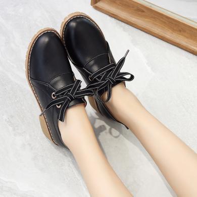 新款休閑單鞋女時尚粗跟中跟單鞋女增高女鞋MN566
