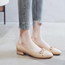 搭歌头层牛皮单鞋女秋款复古网红瓢鞋甜美玛丽珍奶奶鞋简约小皮鞋YDG5190蝴蝶结