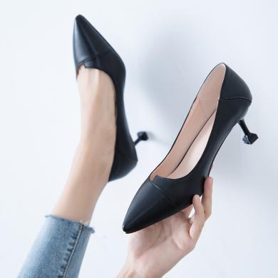 (預售)MIJI女鞋2019新款尖頭細跟高跟鞋職業通勤工作單鞋貓跟單鞋CD-LYFN-A3--1