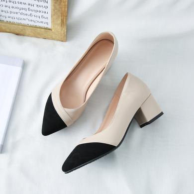 (預售)MIJI2019秋款韓版百搭工作鞋尖頭單鞋中跟職業黑色粗跟高跟尖頭淺口鞋CD-LYFN-Y-1