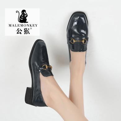 公猴樂福鞋女2019秋季新款英倫風穆勒鞋方頭粗跟百搭休閑中跟皮鞋