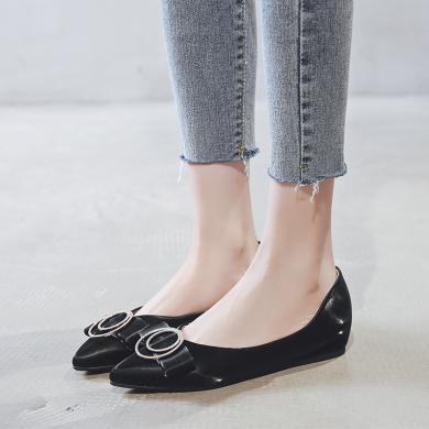阿么女鞋2019秋季新款時尚蝴蝶結單鞋女淺口低跟軟底舒適平底鞋
