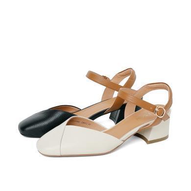 百田森PYQ19218新款牛皮方头粗根中跟甜美一字带扣中空女单鞋