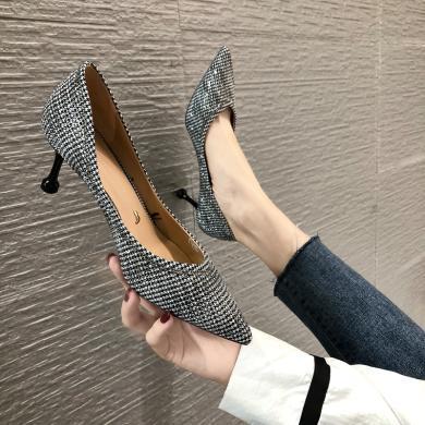 MIJI2019新款高跟鞋浅口尖头细跟女鞋千鸟格猫跟显瘦单鞋XLJ-9341