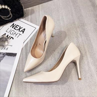 MIJI2019新款女鞋漆皮性感高跟鞋細跟尖頭單鞋辦公職業女鞋XLJ-9343