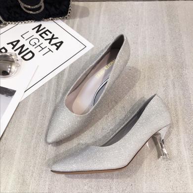 MIJI2019新款女鞋淺口套腳尖頭高跟單鞋女伴娘婚鞋XLJ-9359