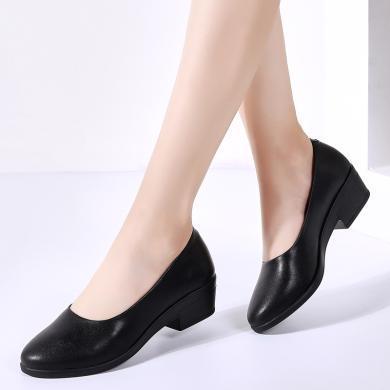 女鞋OL上班族经典热卖真皮黑色皮鞋女单鞋工作鞋舞蹈鞋低跟鞋 MN 096