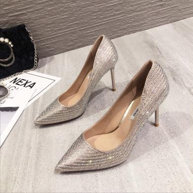 MIJI2019新款尖頭水鉆高跟鞋水晶鞋時尚女鞋細跟顯瘦單鞋XLJ9345