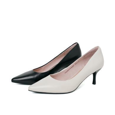 百田森PYQ19041新款职业女性浅口单鞋尖头高跟细跟羊皮?#21487;?#22899;鞋