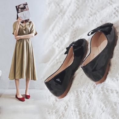 阿么女鞋瓢鞋女2019秋季新款蝴蝶結低跟軟底淺口皮鞋平底單鞋女