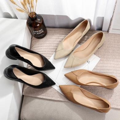 搭歌單鞋女2019初秋新款夏季工作鞋女職業鞋女鞋尖頭粗跟軟后包FH333-16