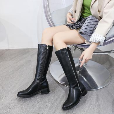 新款粗跟低跟长筒靴过欧美高筒靴女骑士靴DX-D92005
