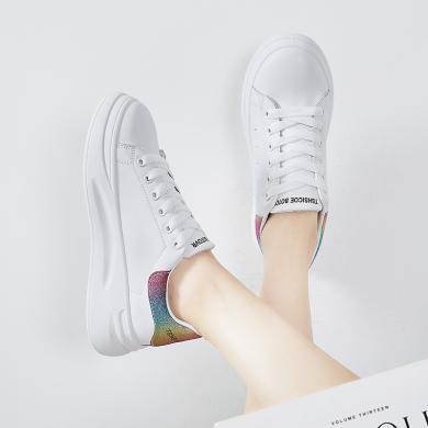 女鞋小白鞋學生鞋智熏韓版ins超火學生板鞋小白鞋潮鞋百搭潮鞋厚底增高 YGN- C19
