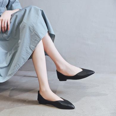 阿么2019春秋新款韩版平底单鞋女时尚百搭一脚蹬工作鞋尖头奶奶鞋