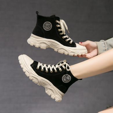 新款高幫板鞋女厚底增高潮鞋女ins街頭超火秋季系帶學生休閑女鞋DM570