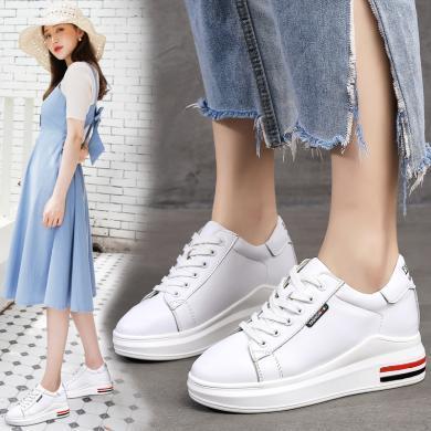 新款休閑系帶厚底女鞋增高小白鞋休閑女鞋MM-G9038