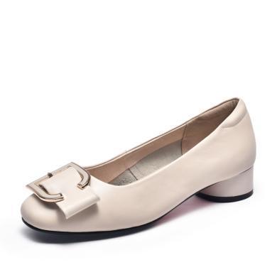 富貴鳥女鞋時尚個性方頭粗跟女單鞋 H99D786C