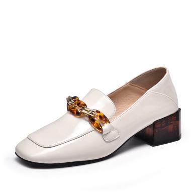 富貴鳥女鞋英倫中跟樂福鞋女漆皮單鞋 H99A201-1