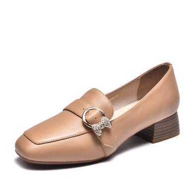 富贵鸟女鞋韩版乐福鞋方头粗跟单鞋女中跟小皮鞋 H99P725C