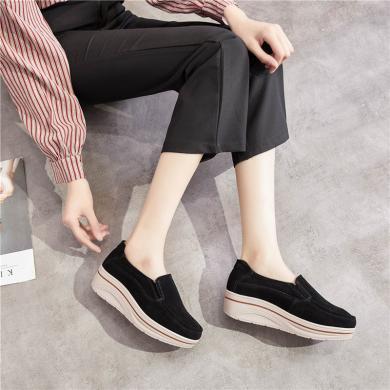 女鞋潮鞋大碼女鞋真皮厚底增高套腳韓版松糕鞋休閑鞋日常潮鞋 MN 3928