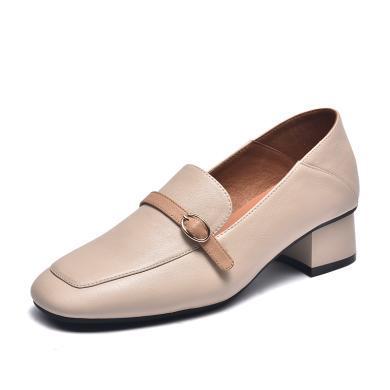 富贵鸟女鞋方头小皮鞋女中跟单鞋女英伦风乐福鞋 H99M628C