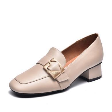 富贵鸟单鞋女复古乐福鞋中跟方扣 H99M696C