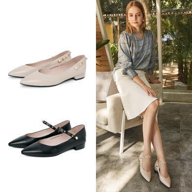 百田森PYQ19023新款瑪麗珍鞋女牛皮單鞋時尚鉚釘低跟平跟女鞋