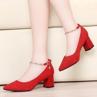 搭歌粗跟單鞋女2020新款淺口尖頭時尚百搭韓版女鞋MO9358