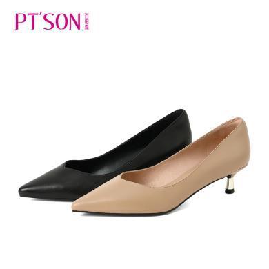 百田森 新款中跟單鞋女黑色職業尖頭貓跟工作鞋細跟高跟鞋PYQ19566