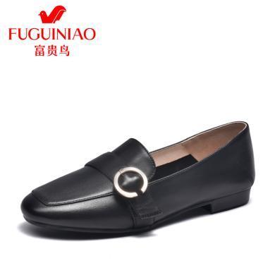 富贵鸟单鞋女方头复古单鞋女软底舒适乐福鞋 H99P637C