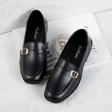 MIJI2019真皮粗跟套脚乐福鞋女英伦风小皮鞋韩版休闲女单鞋LC7229