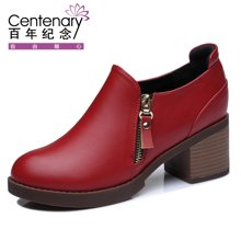 百年纪念 新款女鞋子深口女粗跟中跟女士皮鞋英伦圆头鞋 bn/1135