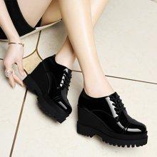 莱卡金顿 新款厚底坡跟单鞋女防水台高跟鞋英伦休闲鞋潮时尚女鞋 LK/6032