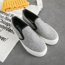 【预售】极有家厚底乐福鞋女鞋学生懒人鞋韩版女帆布鞋板鞋17060