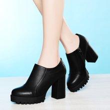 古奇天伦女鞋圆头深口单鞋女高跟单鞋粗跟加绒休闲鞋女高跟侧拉链女鞋子 TL/8142-2