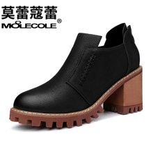 莫蕾蔻蕾2018新款百搭韩版单高跟学生原宿小皮鞋粗跟复古防水台女鞋70061ML